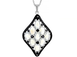 Multi-Colored Ethiopian Opal Rhodium Over Sterling Silver Pendant With Chain. 4.40ctw