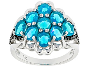Blue Paraiba Opal Rhodium Over Sterling Silver Ring. 1.08ctw