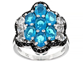Blue Paraiba Opal Rhodium Over Sterling Silver Ring. 3.10ctw