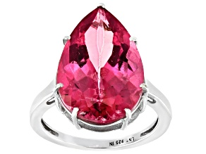 Pink topaz Rhodium Over Sterling Silver Ring. 14.98ctw