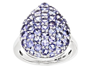 Blue Tanzanite Rhodium Over Sterling Silver Ring. 2.96ctw
