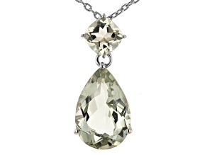 Green Prasiolite Rhodium Over Sterling Silver Pendant With Chain. 13.07ctw