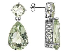 Green Prasiolite Rhodium Over Sterling Silver Earrings. 24.89ctw