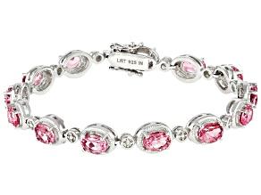 Pink Topaz Rhodium Over Sterling Silver Bracelet. 12.35ctw