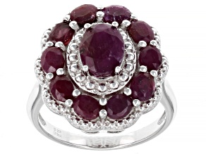 Red Indian Ruby Rhodium Over Sterling Silver Ring. 3.40ctw