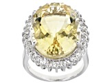 Citrine Rhodium Over Sterling Silver Ring 16.50ctw