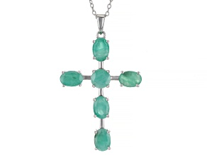 Green Sakota Emerald Rhodium Over Sterling Silver Pendant with Chain 4.15ctw