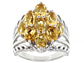 Yellow Citrine Rhodium Over Sterling Silver Ring. 2.50ctw.