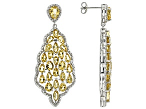 Yellow Citrine Rhodium Over Sterling Silver Earrings 9.15ctw