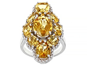 Yellow Citrine Rhodium Over Sterling Silver Ring. 5.25ctw