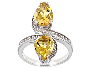 Yellow Citrine Rhodium Over Sterling Silver Bypass Ring. 2.75ctw