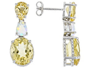 Yellow Citrine Rhodium Over Sterling Silver Earrings. 7.85ctw