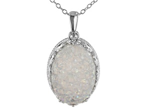 White Drusy Rhodium Over Sterling Silver Pendant With Chain