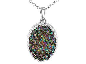 Rainbow Green Drusy Quartz Rhodium Over Silver Pendant With Chain