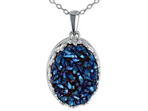 Royal Blue Drusy Quartz Rhodium Over Silver Pendant With Chain