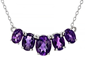 Purple Amethyst Rhodium Over Sterling Silver Necklace. 2.25ctw