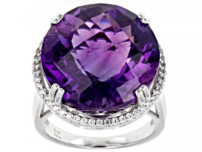 Purple Amethyst Rhodium Over Sterling Silver Ring 17.75ctw