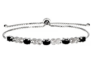 Black Spinel Rhodium Over Sterling Silver Bolo Bracelet 2.46ctw