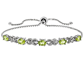 Peridot Rhodium Over Sterling Silver Bolo Bracelet 2.16ctw