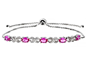 Pink Lab Created Sapphire Rhodium Over Sterling Silver Bolo Bracelet .46ctw