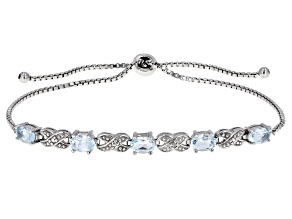 Blue Topaz Rhodium Over Silver Bolo Bracelet 2.51ctw