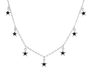 Black Spinel Rhodium Over Sterling Silver Necklace. 0.08ctw