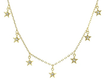 Picture of White Zircon 18K Yellow Gold Over Sterling Silver Necklace. 0.09ctw