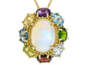 Multicolor Ethiopian Opal 18k Yellow Gold Over Silver Pendant With Chain 6.70ctw
