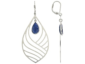 Blue Sapphire Rhodium Over Sterling Silver Dangle Earrings 4.50ctw