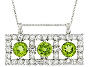 Green Peridot Rhodium Over Sterling Silver Pendant With Chain 10.14ctw