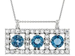 Blue Topaz Rhodium Over Sterling Silver Pendant Chain 12.09ctw