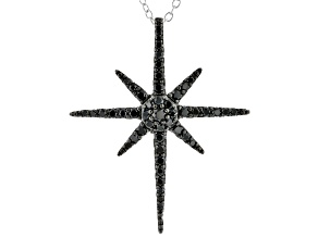 Black Spinel Rhodium Over Sterling Silver Pendant With Chain 0.54ctw