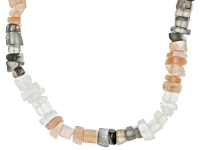 Multi Color Moonstone Rhodium Over Sterling Silver Necklace