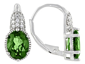 Green Chrome Diopside Rhodium Over Sterling Silver Earrings. 2.42ctw