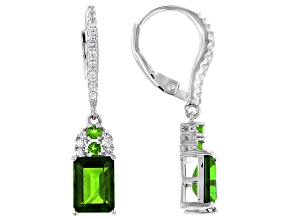 Green Chrome Diopside Rhodium Over Sterling Silver Earrings. 3.32ctw