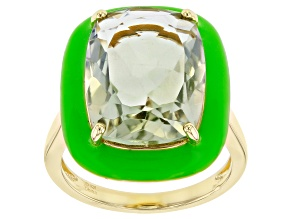 Green Prasiolite 18k Yellow Gold Over Sterling Silver Solitaire Ring 6.50ct