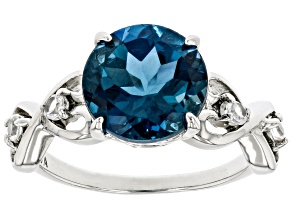 Blue Topaz Rhodium Over Sterling Silver Ring 3.87ctw