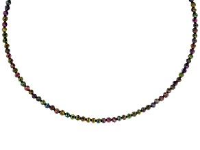 Multi Color Black Spinel Stainless Steel Necklace