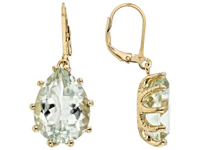 Green Prasiolite 18K Yellow Gold Over Sterling Silver Earrings. 13.00ctw