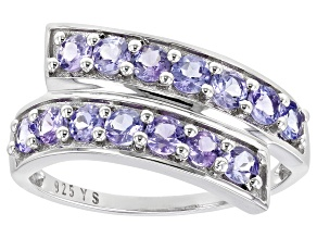 Blue Tanzanite Rhodium Over Sterling Silver Ring 1.23ctw