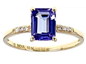 Blue Tanzanite  10k Yellow Gold Ring 1.27ctw