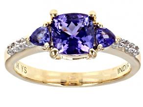 Blue Tanzanite 10k Yellow Gold Ring 1.49ctw