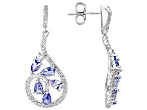 Blue Tanzanite Rhodium Over Sterling Silver Earrings 2.82ctw