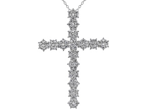 White Zircon Rhodium Over Sterling Silver Cross Pendant With Chain 2.28ctw
