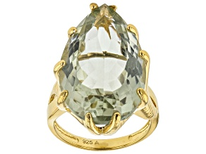 Green Prasiolite 18K Yellow Gold Over Sterling Silver Solitaire Ring 19.00ct