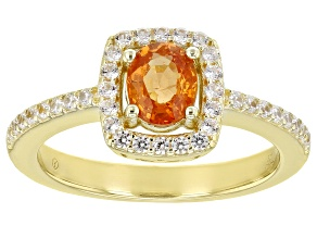 Orange Mandarin Garnet 18K Yellow Gold Over Sterling Silver Ring  1.30ctw