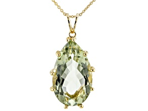 Green Prasiolite 18K Yellow Gold Over Sterling Silver Pendant with Chain 19.00ct
