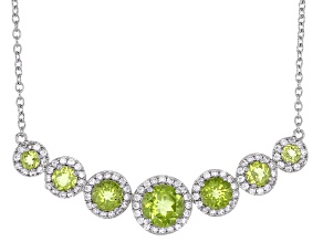 Green Manchurian Peridot(TM) Rhodium Over Sterling Silver Necklace 3.89ctw