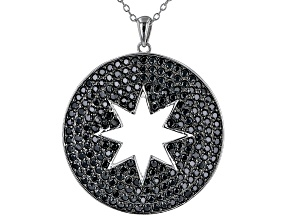 Black Spinel Rhodium Over Sterling Silver Star Pendant With chain 3.28ctw