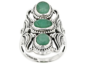Green Emerald Sterling Silver 3-Stone Ring. 1.50ctw